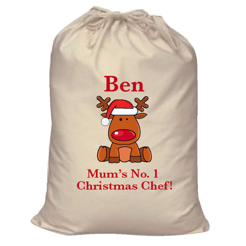 CA03 - Christmas Personalised Cooking Canvas Santa Sack