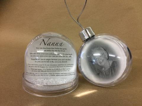 OOSB002 - Funeral Remembrance Photo Bauble for Christmas Tree