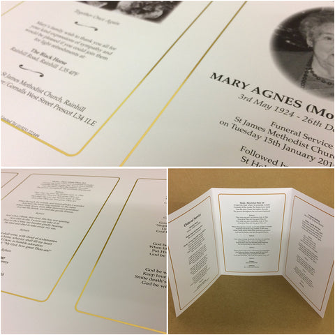 Funeral Service - Order of Service, printed in Colour with Photograph