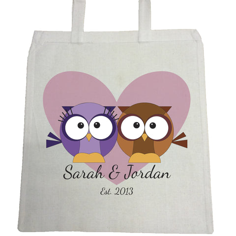 VA13 - Loving Owl Hearts Personalised Canvas Bag for Life