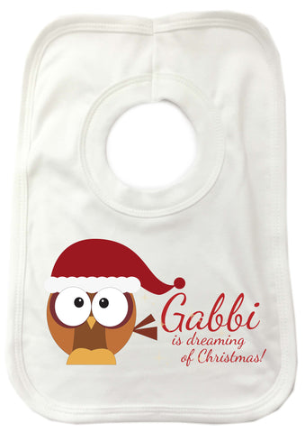 PC01 - (Your Name) Is Dreaming Of Christmas Personalised Baby Bib