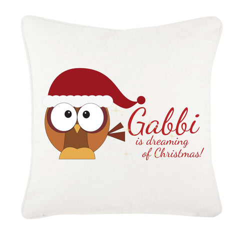 (Your Name) Is Dreaming Of Christmas Personalised Canvas Cushion Cover