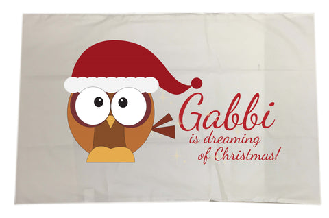 PC01 - (Your Name) Is Dreaming Of Christmas Personalised White Pillow Case Cover