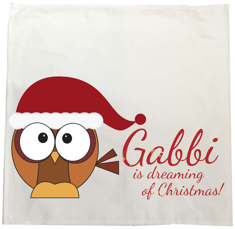 PC01 - (Your Name) Is Dreaming Of Christmas Personalised Tea Towel