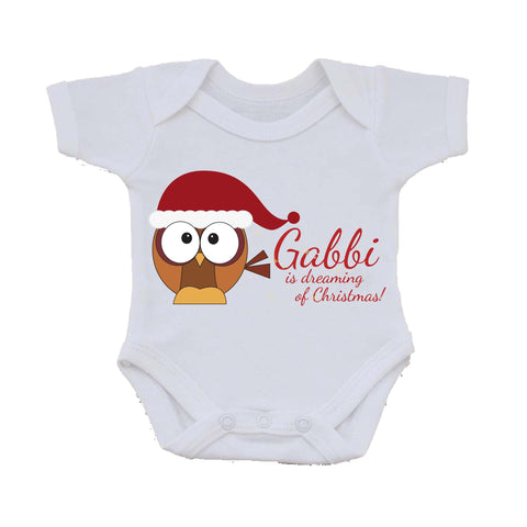 PC01 - (Your Name) Is Dreaming Of Christmas Personalised Baby Vest