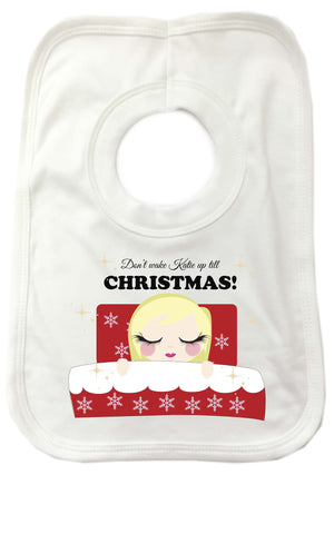 PC02 - Don't Wake (Name) Until Christmas Personalised Baby Bib