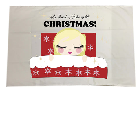 PC02 - Don't Wake (Name) Until Christmas Personalised White Christmas Pillow Case Cover