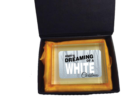 PC03 - Name is Dreaming of a White Christmas Personalised Crystal Block with Presentation Gift Box