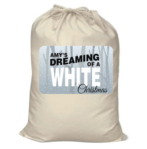 PC03 - Name is Dreaming of a White Christmas Personalised Canvas Santa Sack