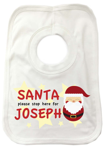 PC04 - Santa Please Stop Here For (Your Name) Personalised Christmas Baby Bib
