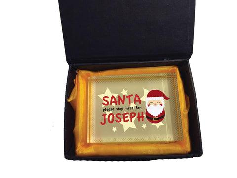 PC04 - Santa Please Stop Here For (Your Name) Personalised Christmas Crystal Block & Gift Box