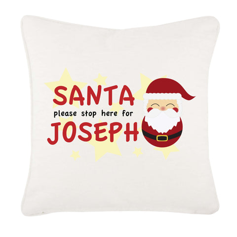 Santa Please Stop Here For (Your Name) Personalised Christmas Canvas Cushion Cover