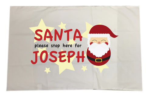 PC04 - Santa Please Stop Here For (Your Name) Personalised White Christmas Pillow Case Cover