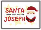 PC04 - Santa Please Stop Here For (Your Name) Personalised Christmas Canvas Print
