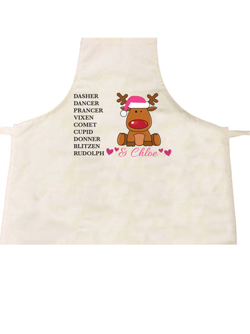 PC08 - Personalised Christmas Santa's Reindeers with Rudolph & Girl's Name Personalised Apron
