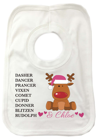 PC08 - Personalised Christmas Santa's Reindeers with Rudolph & Girl's Name White Christmas Baby Bib