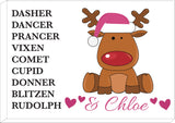 PC08 - Personalised Christmas Santa's Reindeers with Rudolph & Girl's Name Print