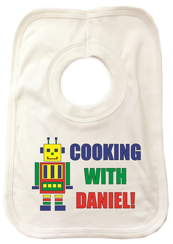 CA10 - Personalised Cooking with (Name) Baby Bib