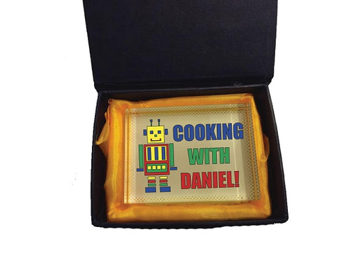 CA10 - Personalised Cooking with (Name) Crystal Block with Presentation Gift Box