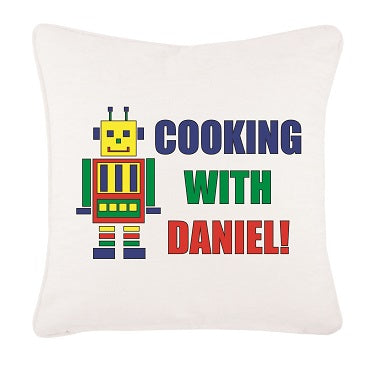 CA10 -Personalised Cooking with (Name) Canvas Cushion Cover
