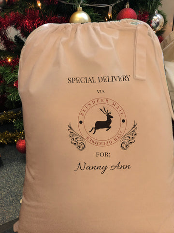 Special Delivery Via Reindeer Personalised Christmas Santa Sack for all ages