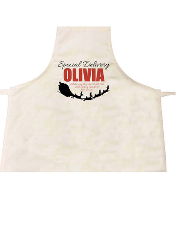 SS02 - Special Delivery Name and Flying Reindeers Personalised Christmas Apron