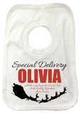 SS02 -   Special Delivery Name and Flying Reindeers Personalised Christmas Baby Vest