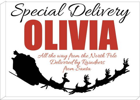 SS02 - Special Delivery Name and Flying Reindeers Personalised Christmas Canvas Print