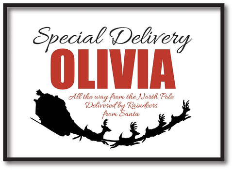 SS02 - Special Delivery Name and Flying Reindeers Personalised Christmas Print