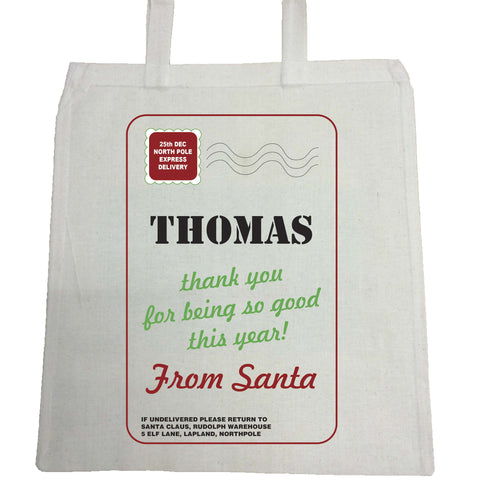 SS03 - Name Thank You for Being Good Personalised Christmas Canvas Bag for Life