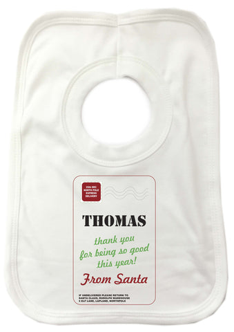 SS03 - Name Thank You for Being Good Personalised Christmas Baby Bib