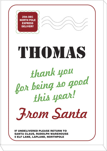 SS03 - Name Thank You for Being Good Personalised Christmas Canvas Print