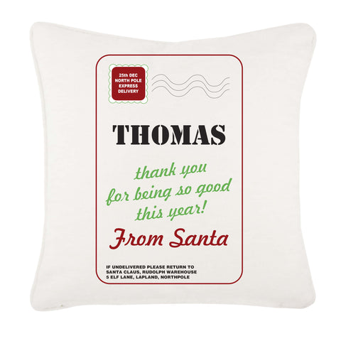 Name Thank You for Being Good Personalised Christmas Canvas Cushion Cover