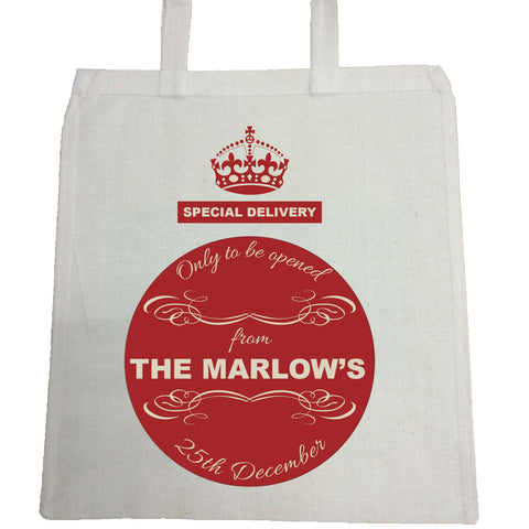 SS04 - Special Delivery Crest Family Name Personalised Christmas Canvas Bag for Life