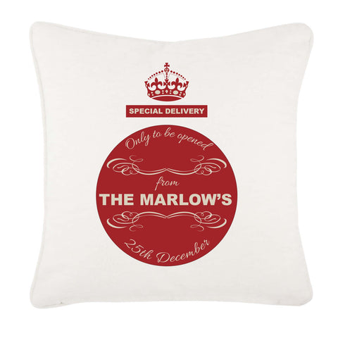 Special Delivery Crest Family Name Personalised Christmas Canvas Cushion Cover