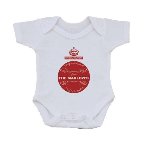 SS04 - Special Delivery Crest Family Name Personalised Christmas Baby Vest