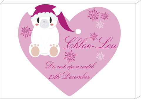 SS05 - Cute Polar Bear Girls Heart Personalised Christmas Canvas Print