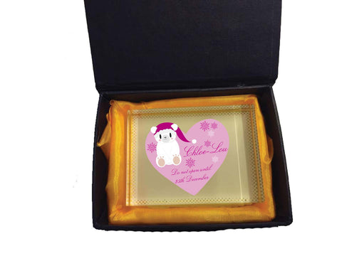 SS05 - Cute Polar Bear Girls Heart Personalised Christmas Crystal Block with Presentation Gift Box