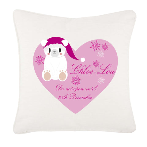 Cute Polar Bear Girls Heart Personalised Christmas Canvas Cushion Cover