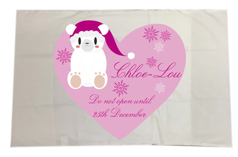 SS05 - Cute Polar Bear Girls Heart Personalised Christmas White Pillow Case Cover