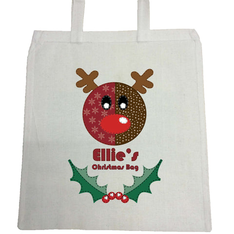 SS06 - Stitched Reindeer Personalised Christmas Canvas Bag for Life