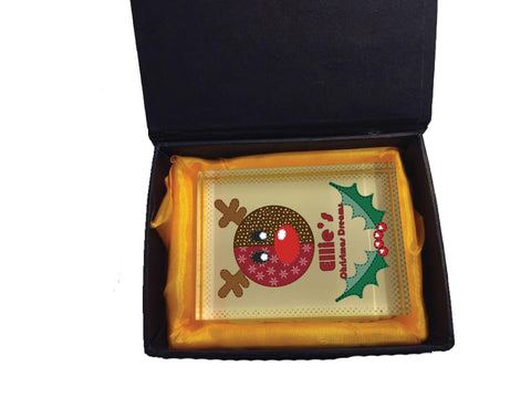 SS06 - Stitched Reindeer Personalised Christmas Crystal Block with Presentation Gift Box