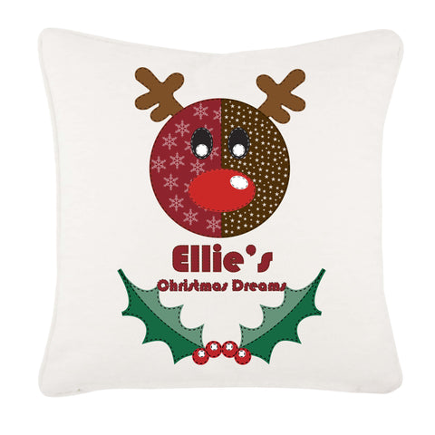 Stitched Reindeer Personalised Christmas Canvas Cushion Cover