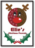 SS06 - Stitched Reindeer Personalised Christmas Canvas Print