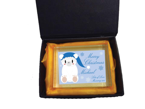 SS07 - Cute Blue Polar Bear Personalised Christmas Crystal Block with Presentation Gift Box