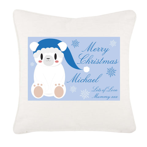 Cute Blue Polar Bear Personalised Christmas Canvas Cushion Cover