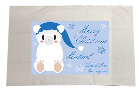 SS07 - Cute Blue Polar Bear Personalised Christmas White Pillow Case Cover
