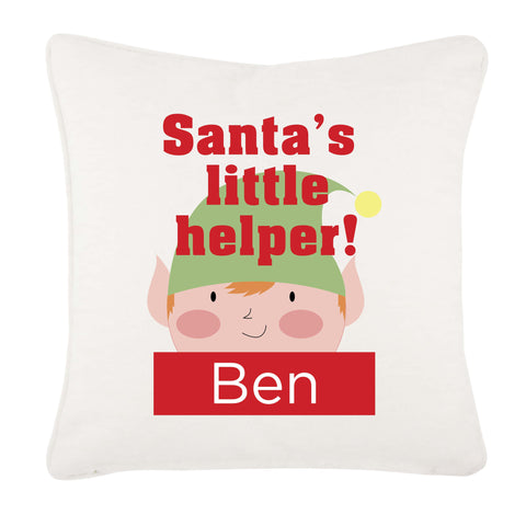 Santa's Little Helper Personalised Christmas Canvas Cushion Cover