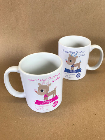 SS10 - Special First Christmas Wishes Cute Reindeer Personalised Mug & White Box for Boys & Girls