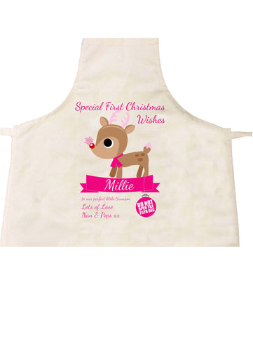 SS10 - Special First Christmas Wishes Cute Reindeer Personalised Apron for Boys and Girls